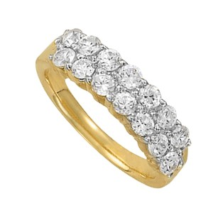 LoveBrightJewelry Chic Cubic Zirconia Cluster Ring in 14K Yellow Gold