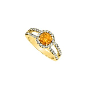 LoveBrightJewelry Citrine And Cubic Zirconia Split Shank Halo Engagement Ring In 14k Yellow Gold 1.50 Ct Tgw