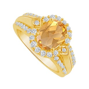 LoveBrightJewelry Citrine And Cz Halo Engagement Ring In Yellow Gold