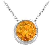 LoveBrightJewelry Citrine Bezel Set Solitaire Pendant 925 Sterling Silver 1.00 CT TGW