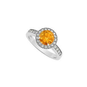 LoveBrightJewelry Citrine November Birthstone With Cubic Zirconia Halo Engagement Ring 925 Sterling Silver