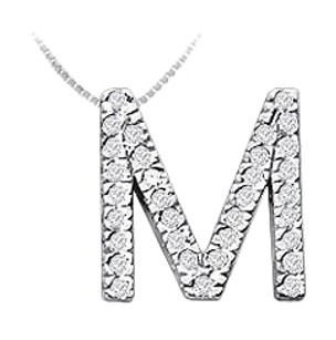 LoveBrightJewelry Classic M Initial Diamond Pendant 14K White Gold 0.50 CT Diamonds