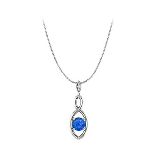 LoveBrightJewelry Classy Sapphire and 3 CZ Infinity Pendant in 925 Silver
