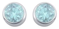 LoveBrightJewelry Created Aquamarine Bezel Set Stud Earrings 925 Sterling Silver 2 CT