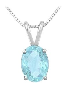 LoveBrightJewelry Created Aquamarine Solitaire Pendant in Rhodium Treated 925 Sterling Silver 2.00 CT TGW