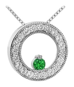 LoveBrightJewelry Created Emerald and Cubic Zirconia Circle Pendant 925 Sterling Silver 1.00 CT TGW