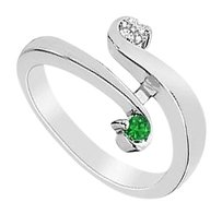 LoveBrightJewelry Created Emerald and Cubic Zirconia Ring 925 Sterling Silver 0.25 CT TGW