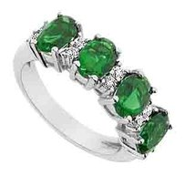LoveBrightJewelry Created Emerald and Cubic Zirconia Ring 925 Sterling Silver 2.25 CT Total Gem Weight