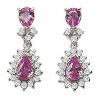 LoveBrightJewelry Created Pink Sapphire and Cubic Zirconia Earrings 925 Sterling Silver 2.50 CT TGW