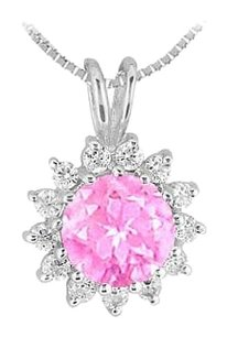 LoveBrightJewelry Created Pink Sapphire and Cubic Zirconia Pendant in Rhodium Treated 925 Sterling Silver 1.25 Car
