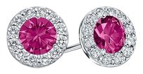 LoveBrightJewelry Created Pink Sapphire and CZ Halo Stud Earrings in Sterling Silver 1.00.ct.tw