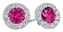 LoveBrightJewelry Created Pink Sapphire and CZ Halo Stud Earrings in Sterling Silver 1.50.ct.tw