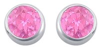 LoveBrightJewelry Created Pink Sapphire Bezel Set Stud Earrings 925 Sterling Silver 2.00 CT TGW