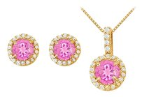 LoveBrightJewelry Created Pink Sapphire with CZ Halo Earrings and Pendant