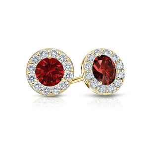 LoveBrightJewelry Created Ruby and CZ Halo Stud Earrings in 14K Yellow Gold 2.00.ct.tw