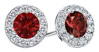 LoveBrightJewelry Created Ruby and CZ Halo Stud Earrings in Sterling Silver 1.00.ct.tw