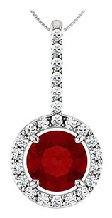 LoveBrightJewelry Created Ruby and CZ Halo Style Drop Pendant in 925 Sterling Silver 1.25 Carat Total Gem Weight