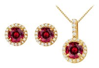 LoveBrightJewelry Created Ruby with CZ Halo Earrings and Pendant