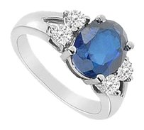 LoveBrightJewelry Created Sapphire and Cubic Zirconia Ring 925 Sterling Silver 3.00 CT Total Gem Weight