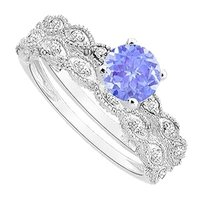 LoveBrightJewelry Created Tanzanite and Cubic Zirconia Engagement Ring with Wedding Band Set 925 Sterling Silver 0.50 Carat