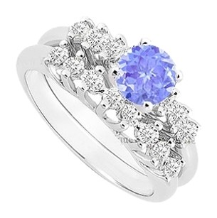 LoveBrightJewelry Created Tanzanite and Cubic Zirconia Engagement Ring with Wedding Band Set 925 Sterling Silver 0.75 Carat