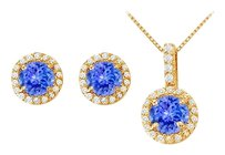LoveBrightJewelry Created Tanzanite with CZ Halo Earrings and Pendant