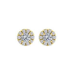 LoveBrightJewelry Cubic Zirconia 18K Yellow Gold Vermeil Stud Earrings