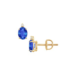 LoveBrightJewelry Cubic Zirconia and Created Sapphire Stud Earrings 14K Yellow Gold