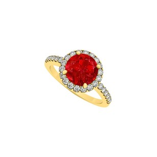 LoveBrightJewelry Cubic Zirconia And July Birthstone Ruby Halo Engagement Ring 18k Gold Vermeil 2.50 Ct Tgw