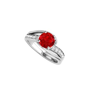 LoveBrightJewelry Cubic Zirconia And Ruby Ring In 925 Sterling Silver