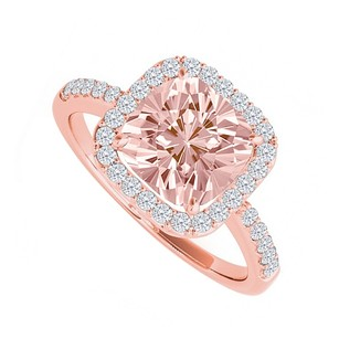 LoveBrightJewelry Cubic Zirconia And Square Morganite Rose Gold Ring