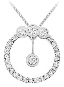 LoveBrightJewelry Cubic Zirconia Circle Pendant in Rhodium Treated 925 Sterling Silver 0.75 Carat TGW