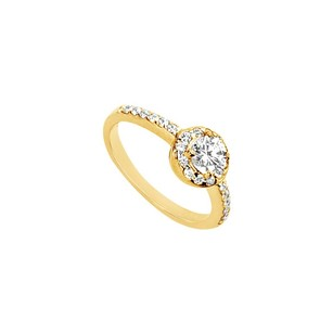 LoveBrightJewelry Cubic Zirconia Engagement Ring 14k Yellow Gold 1.00 Ct Cubic Zirconia