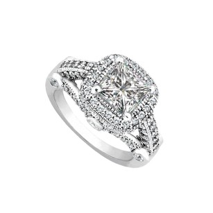 LoveBrightJewelry Cubic Zirconia Engagement Ring In 14k White Gold