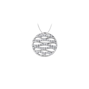 LoveBrightJewelry Cubic Zirconia Fancy Circle Fashion Pendant in Sterling Silver