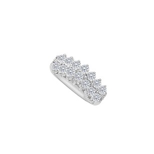 LoveBrightJewelry Cubic Zirconia Flooded Pyramid Rings in 14K White Gold