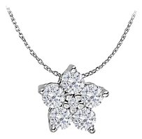 LoveBrightJewelry Cubic Zirconia Flower Pendant in Sterling Silver Lovely Jewelry Set with Free 16 Inch Chain