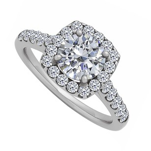 LoveBrightJewelry Cubic Zirconia Halo Engagement Ring In Sterling Silver 1.75 Ct Tgw