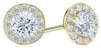 LoveBrightJewelry Cubic Zirconia Halo Stud Earrings in 18K Yellow Gold over Sterling Silver 1.50 CT TGW