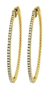 LoveBrightJewelry Cubic Zirconia Hoop Earrings for Women in 14K Yellow Gold 1.50 CT TGW