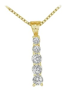 LoveBrightJewelry Cubic Zirconia Journey Pendant 18K Yellow Gold Vermeil 0.50 CT CZs