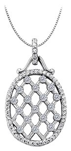 LoveBrightJewelry Cubic Zirconia Oval Fashion Pendant in Sterling Silver 0.75 CT TGW, Jewelry Gift for Women