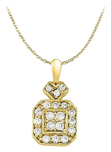 LoveBrightJewelry Cubic Zirconia Square Pendant in Gold Vermeil over Sterling Silver 0.25 CT TGWJewelry Gift
