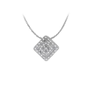 LoveBrightJewelry Cubic Zirconia Square Pendant in Sterling Silver Stunning Jewelry Set