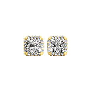 LoveBrightJewelry Cubic Zirconia Square Stud Earrings in 18K Gold Vermeil