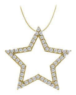 LoveBrightJewelry Cubic Zirconia Star Pendant in Gold Vermeil over Sterling Silver 0.50 CT TGW,Jewelry Gift