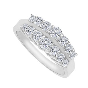 LoveBrightJewelry Cubic Zirconia Total Weight Ring in 14K White Gold