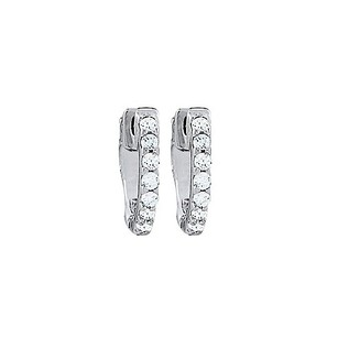 LoveBrightJewelry Cz 1 Row Petite Vault Lock Earrings In White Rhodium Over Sterling Silver