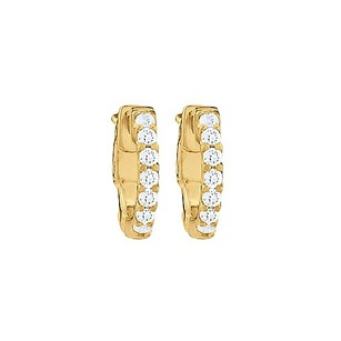 LoveBrightJewelry Cz 1 Row Petite Vault Lock Hoop Earrings In 14kt Yellow Gold Over Sterling Silver