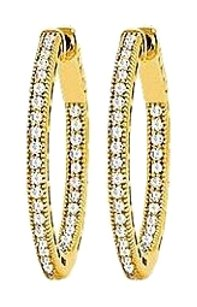 LoveBrightJewelry CZ 23mm Milgrain Round Inside Out Hoop Earrings in Yellow Rhodium Over Sterling Silver